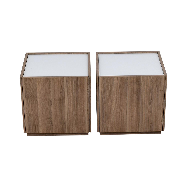 IKEA IKEA Beech Wood Night Stands with Hidden Drawers Beech / White