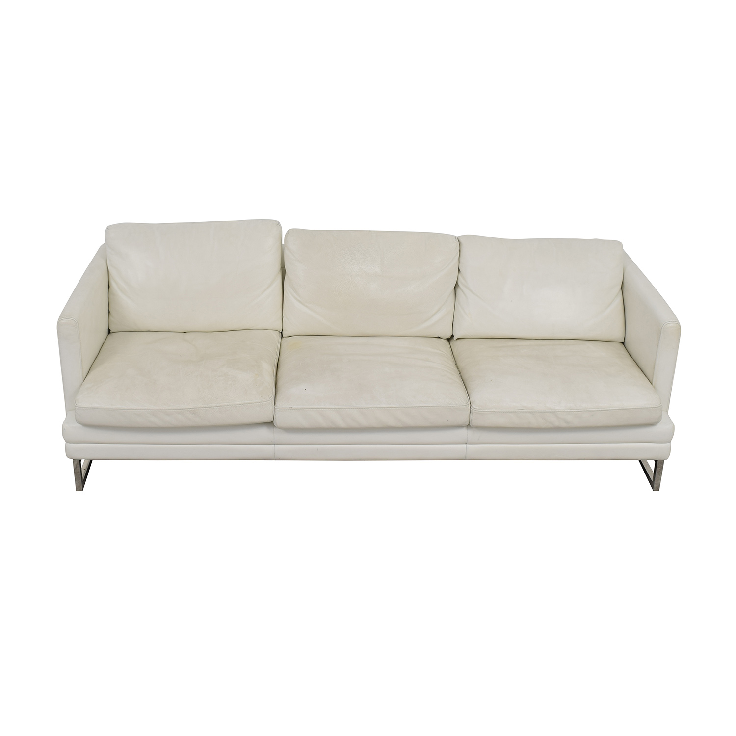 Z Gallerie Z Gallerie White Leather Three-Cushion Sofa