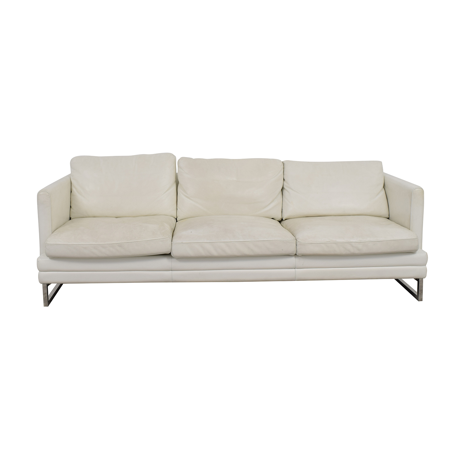 Z Gallerie Z Gallerie White Leather Three-Cushion Sofa For Sale
