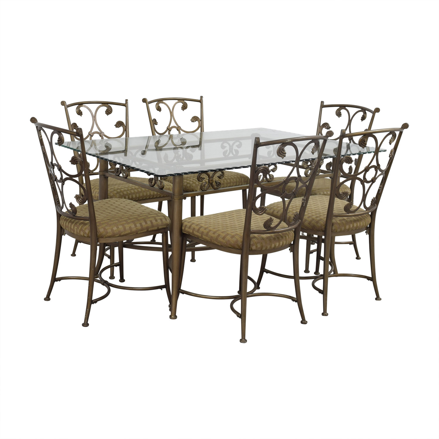 Glass And Gold Wrought Iron Dining Set / Tables