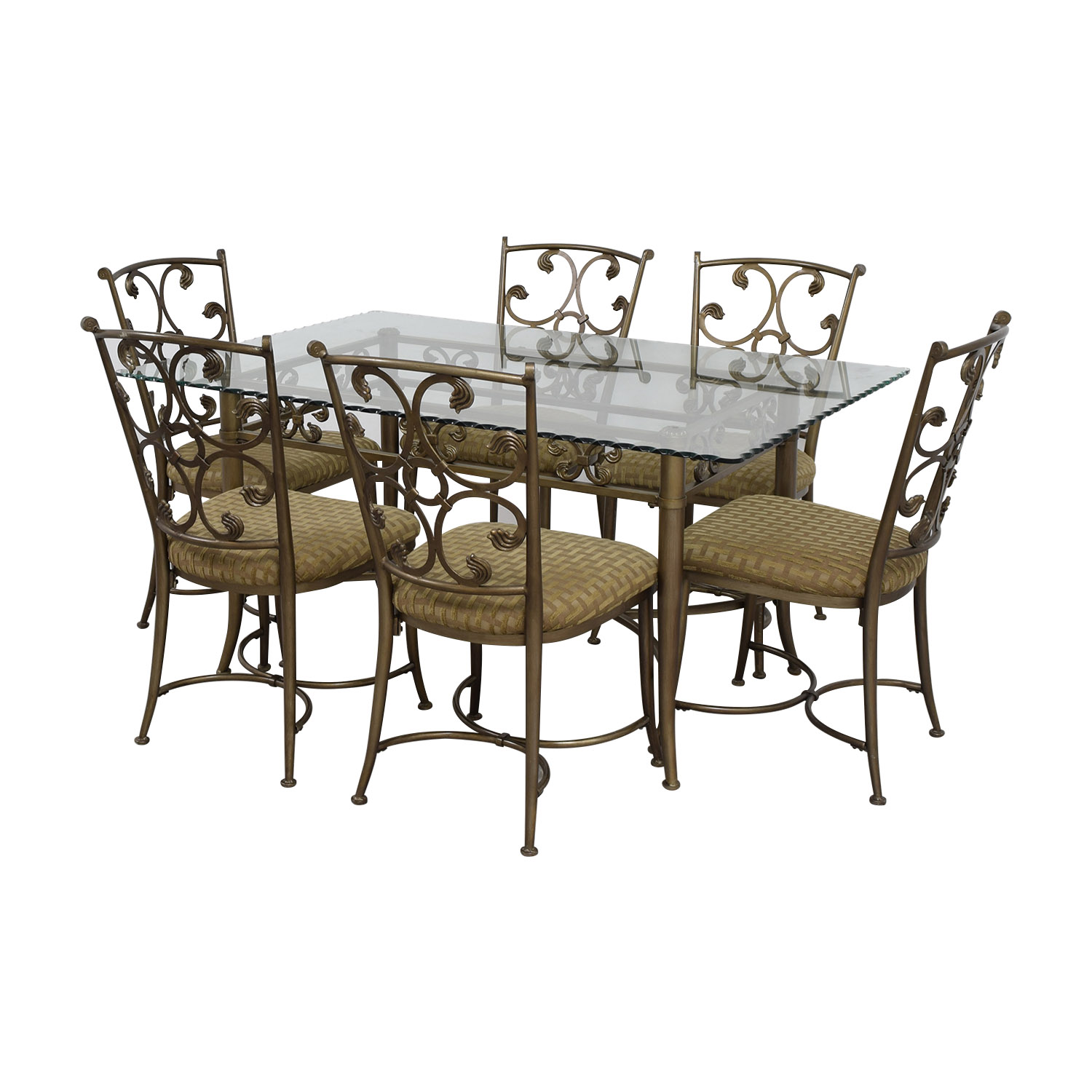 Off glass and gold wrought iron dining set tables