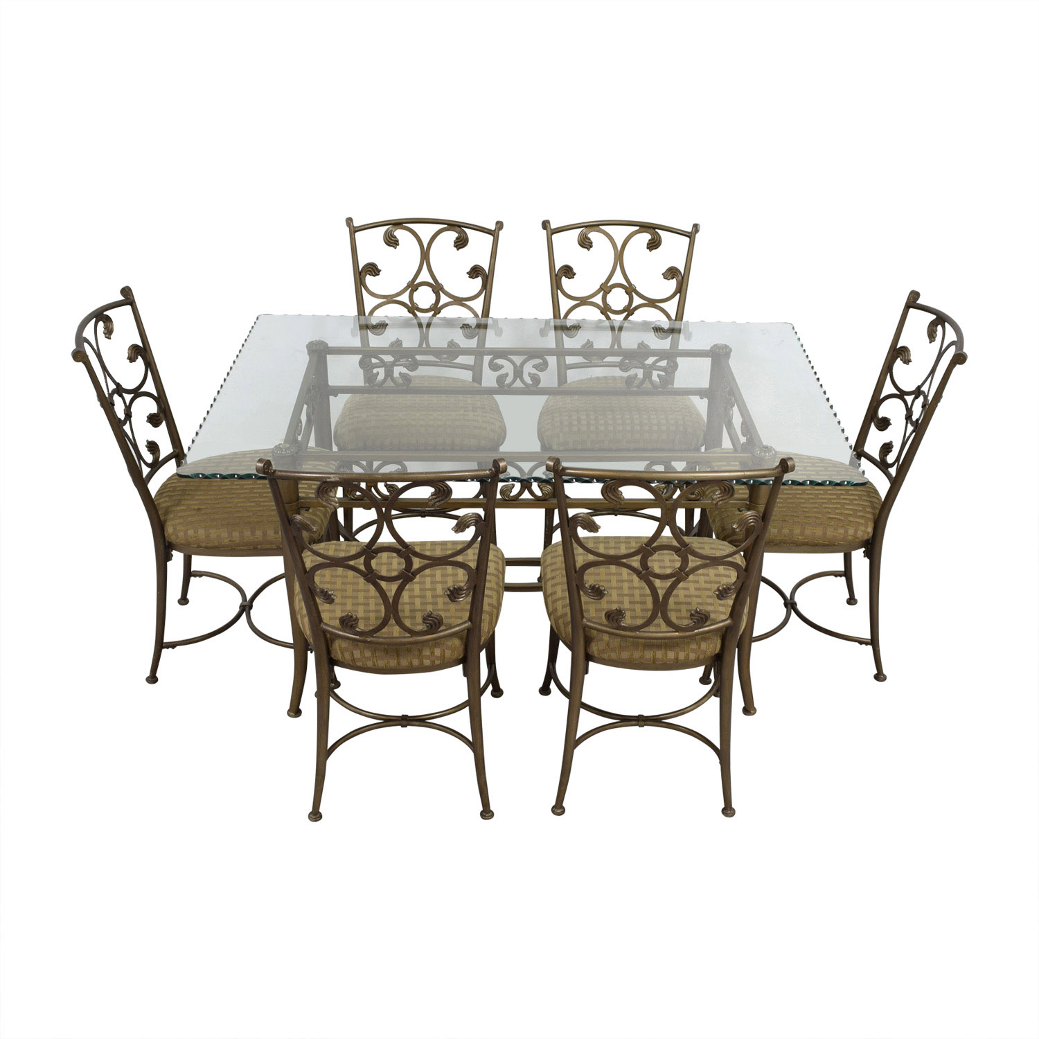 Glass and Gold Wrought Iron Dining Set on sale