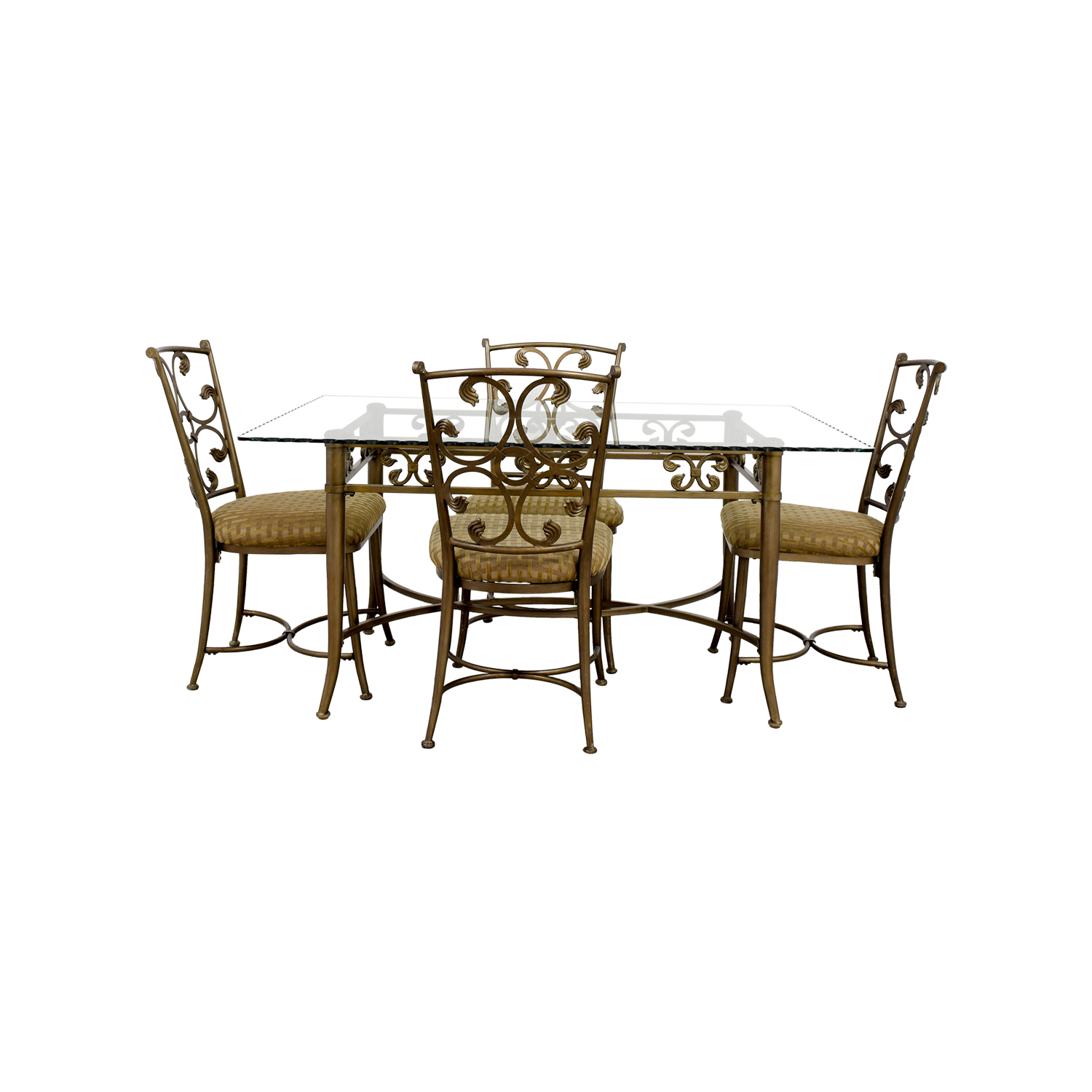 Glass And Gold Wrought Iron Dining Set For Sale