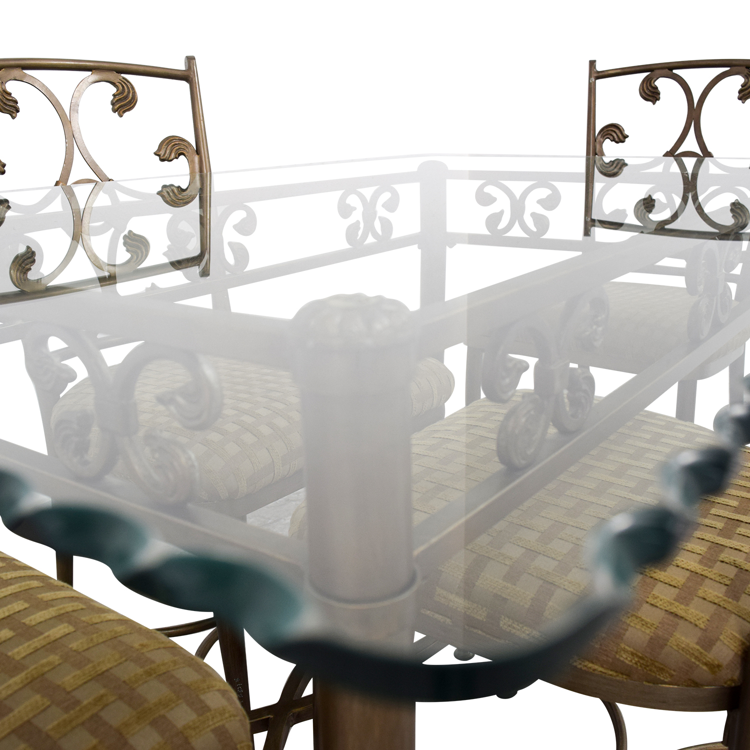 41% OFF Glass and Gold Wrought Iron Dining Set Tables