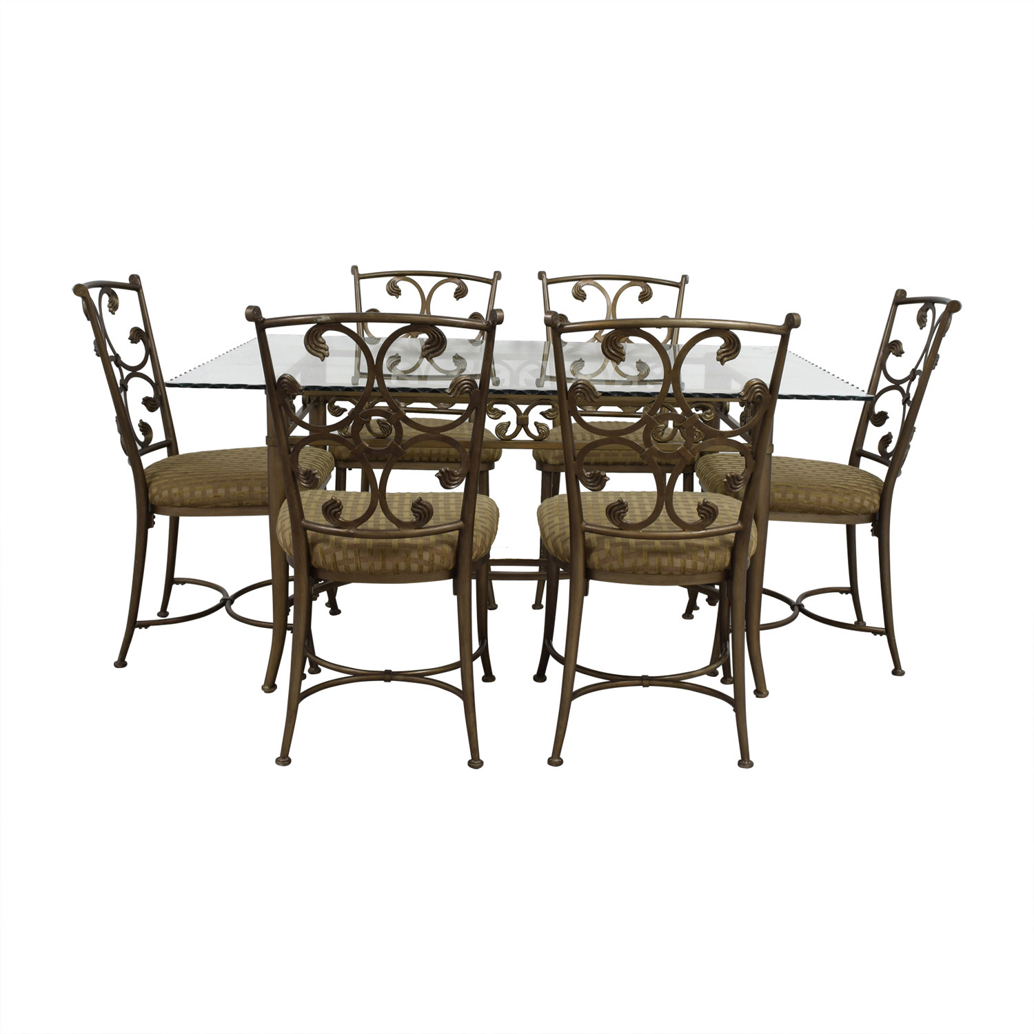 90 Off Gl And Gold Wrought Iron Dining Set Tables