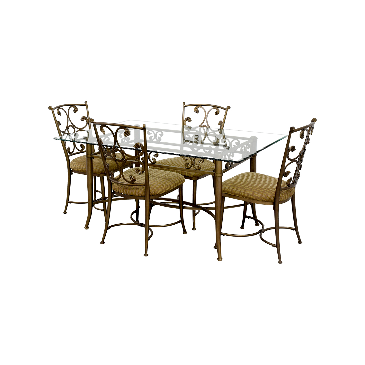 ... Glass And Gold Wrought Iron Dining Set Tables ...
