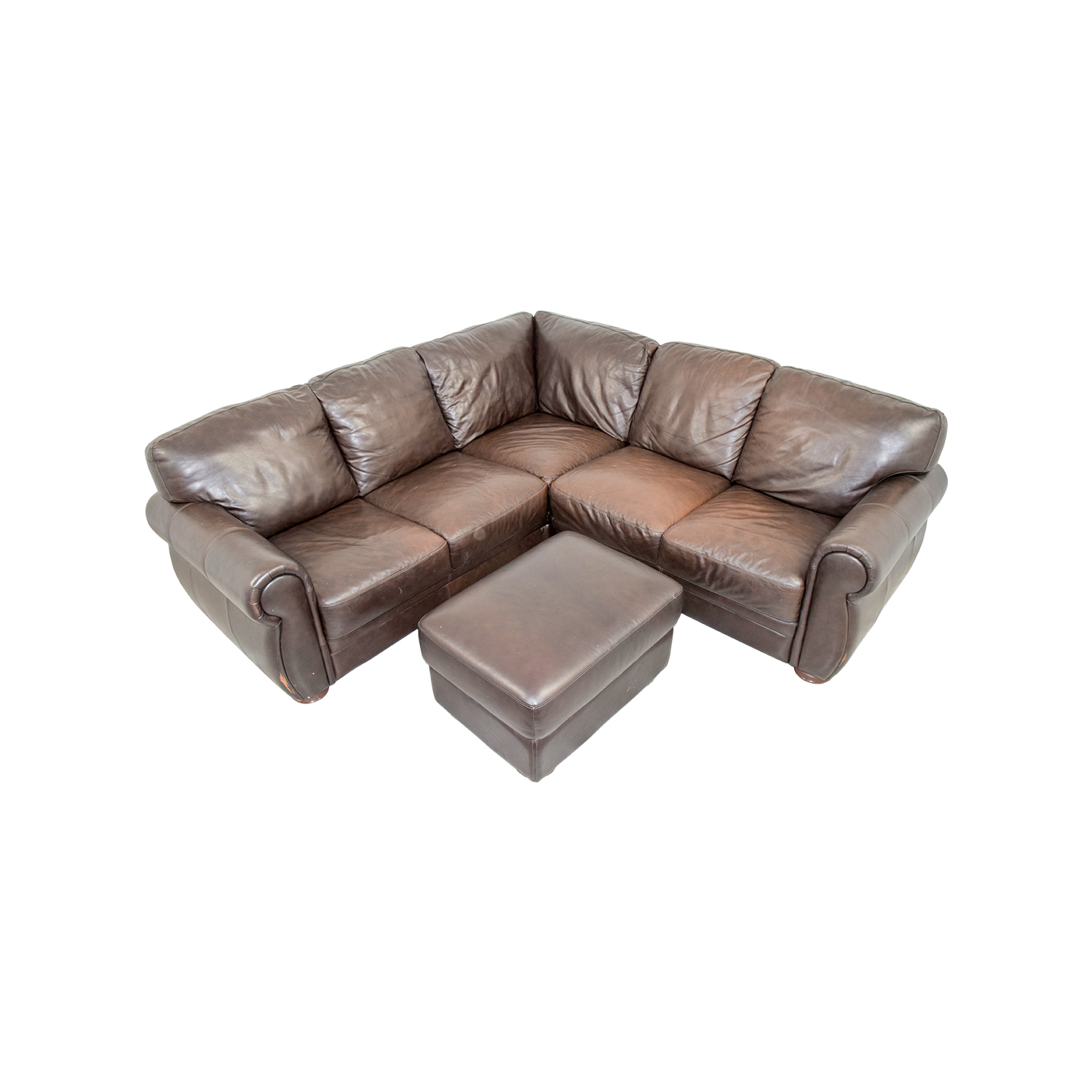 Chateau Dax Brown Leather Sectional with Ottoman sale