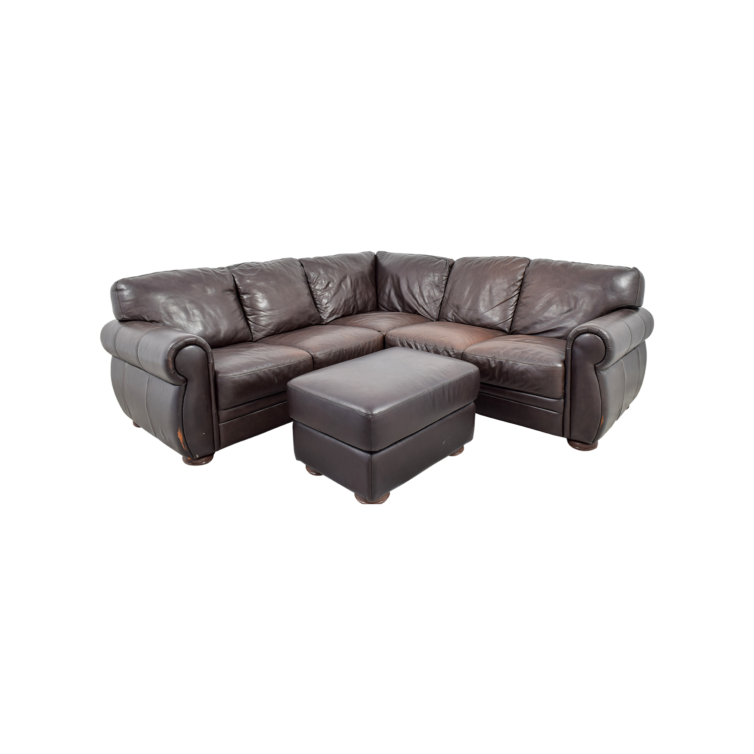 shop Chateau Dax Brown Leather Sectional with Ottoman Chateau Dax Sectionals