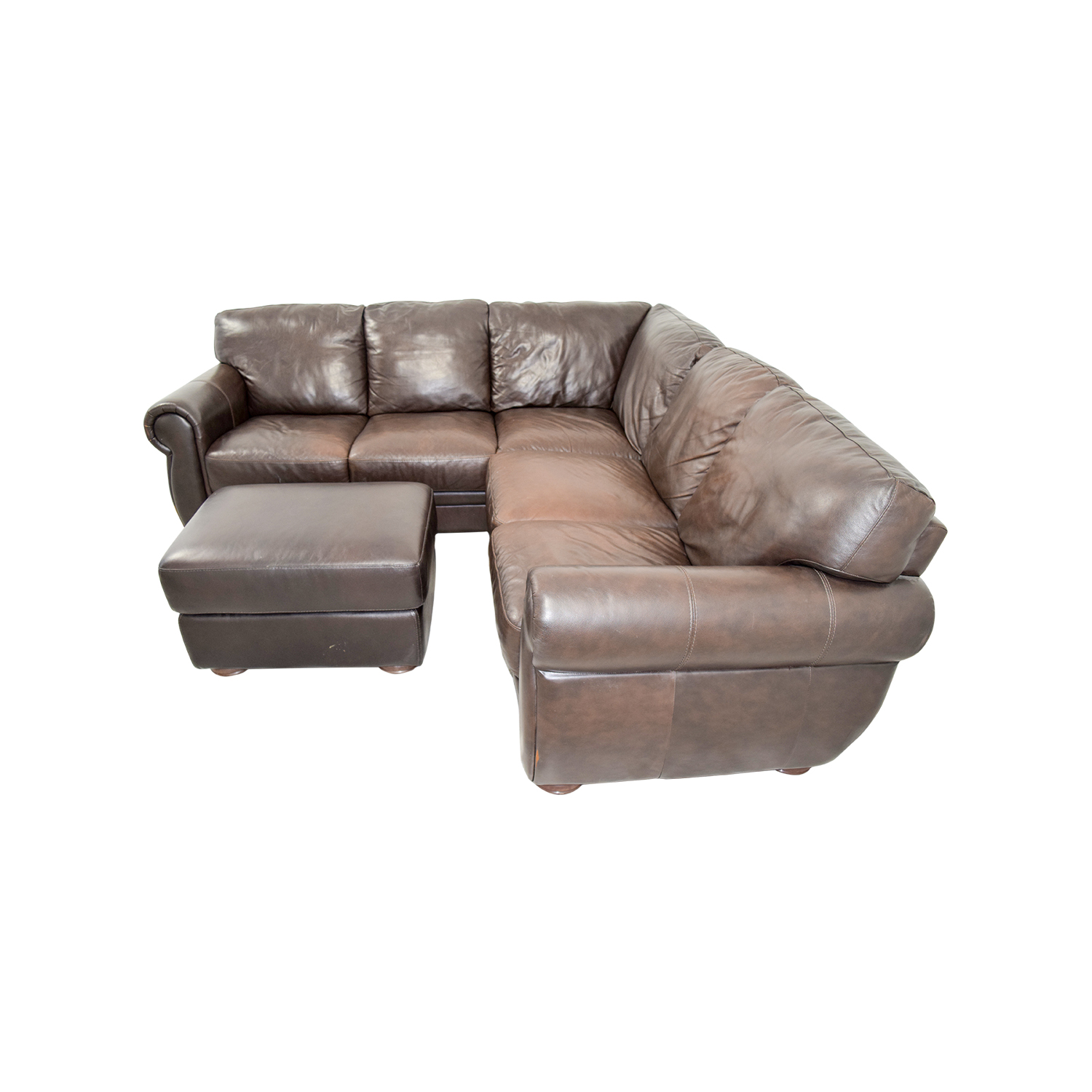 Chateau D'Ax Chateau Dax Brown Leather Sectional
