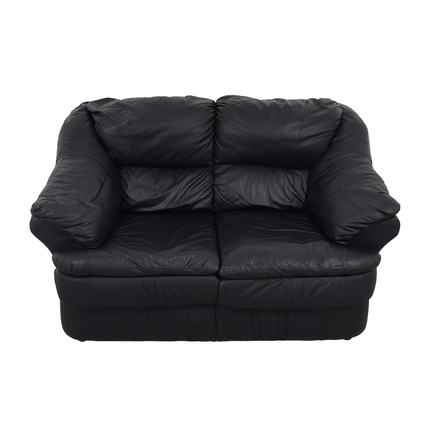 Italian Leather Black Loveseat dimensions