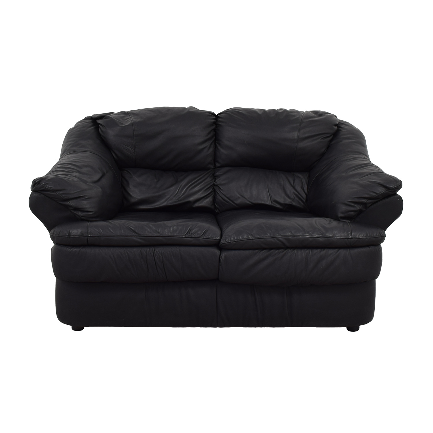 Italian Leather Black Loveseat second hand