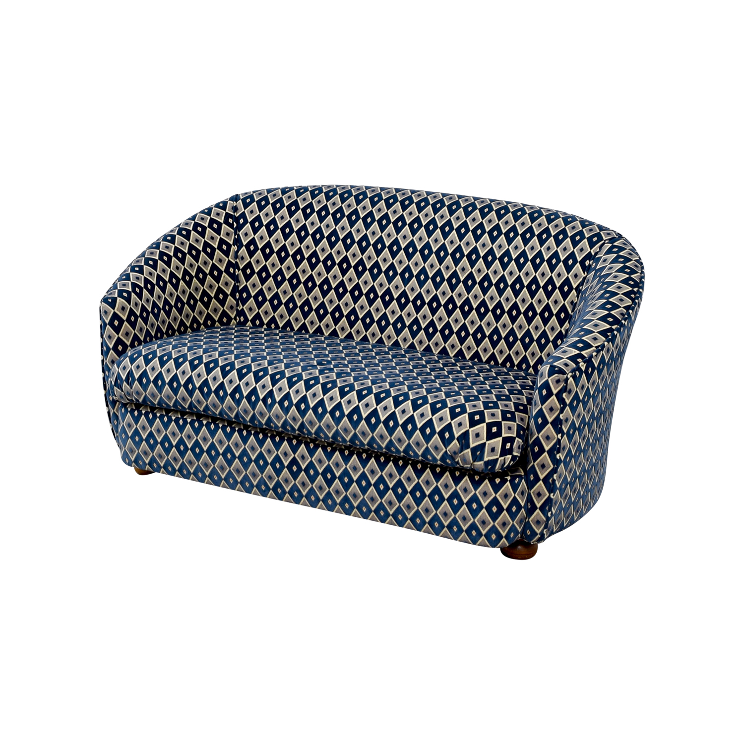 Remarkable 80 Off French Heritage Blue And Grey Harlequin Loveseat Sofas Cjindustries Chair Design For Home Cjindustriesco