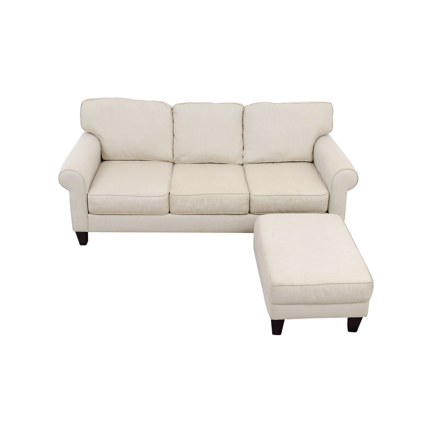Raymour & Flanigan Raymour & Flanigan White Three Seat Sofa and Ottoman price