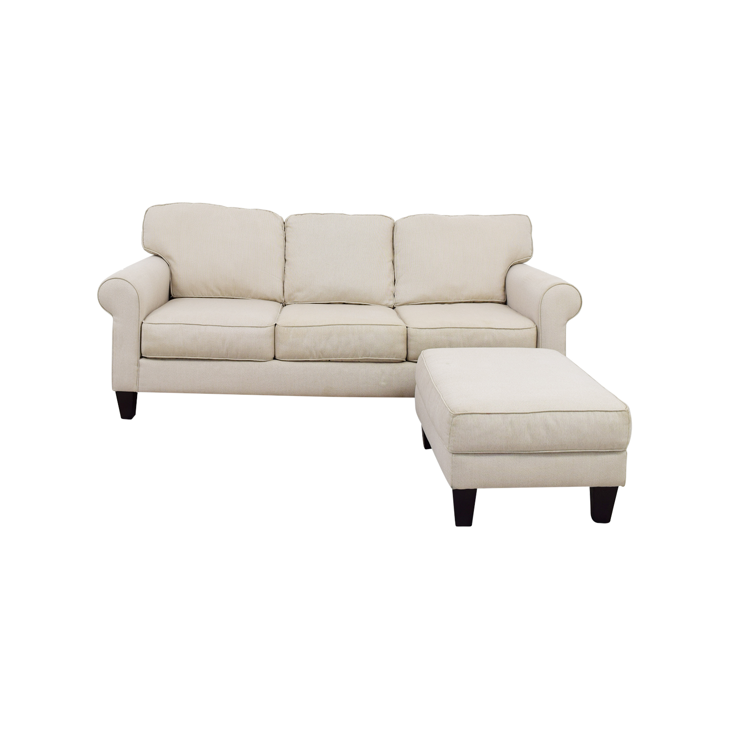 Raymour & Flanigan Raymour & Flanigan White Three Seat Sofa and Ottoman used
