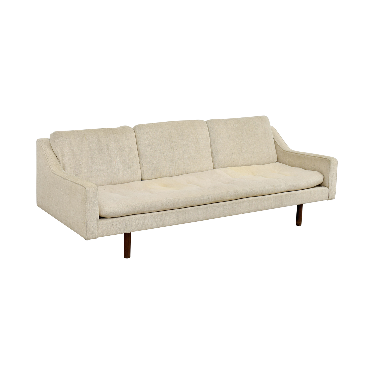 90 off vintage mid century white single cushion sofa for Classic loveseat