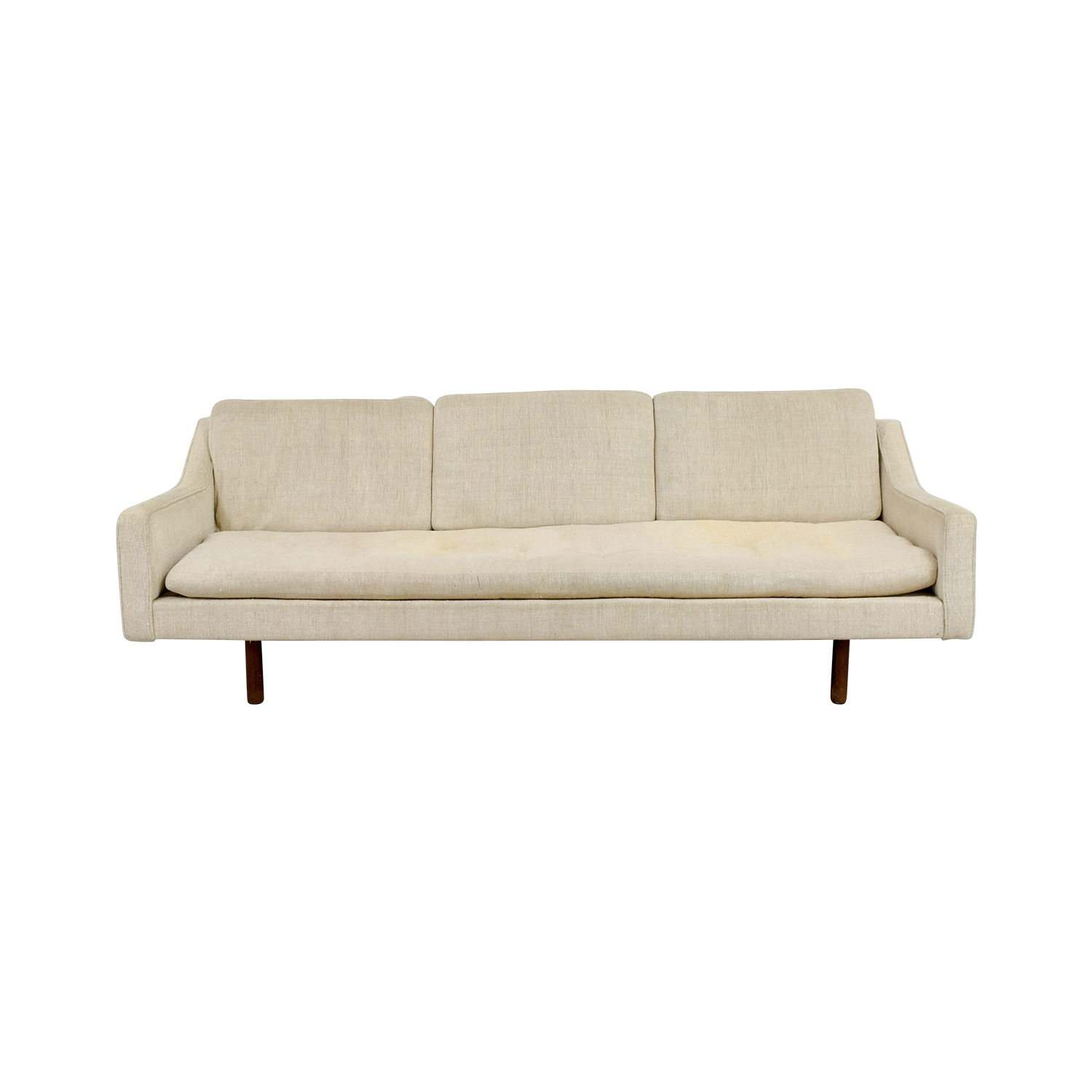 Vintage Mid Century White Single Cushion Sofa Used