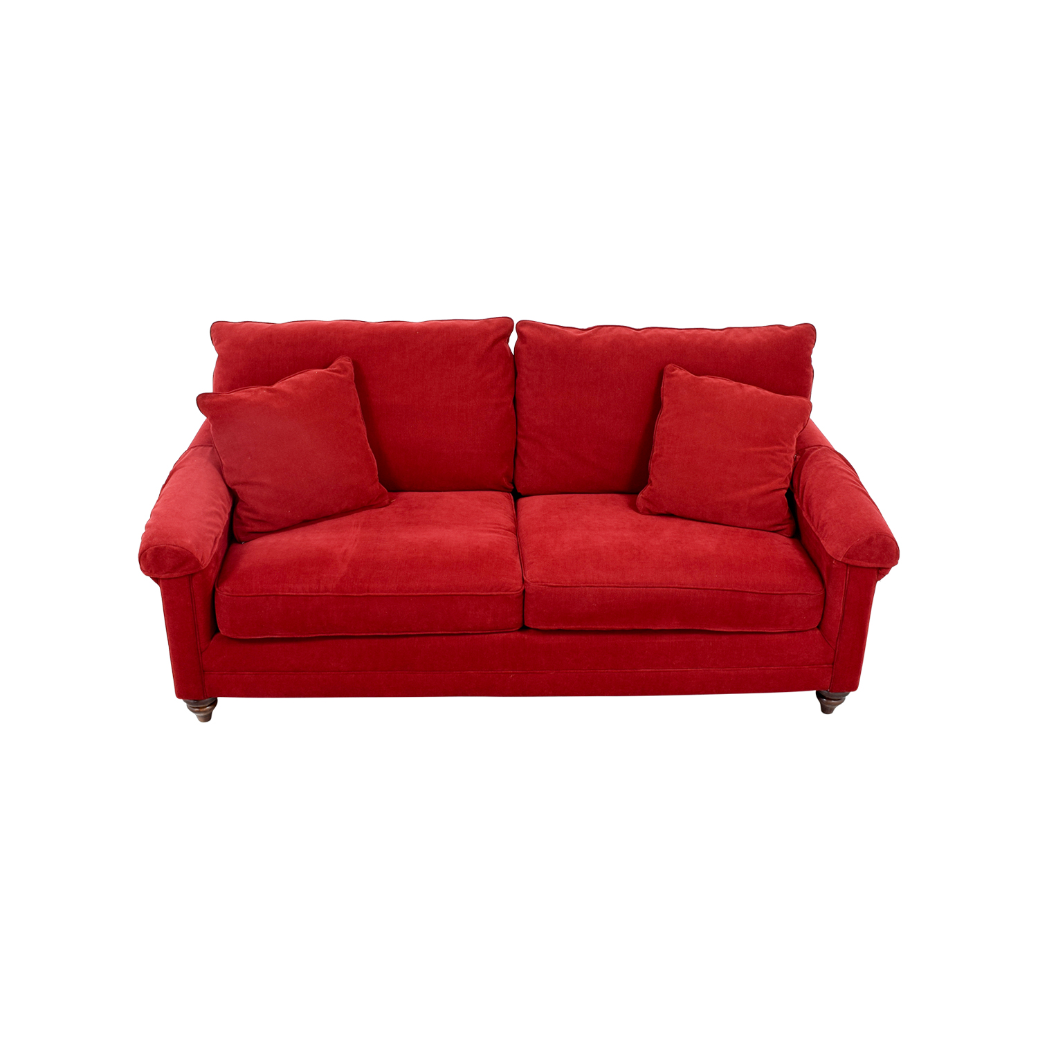 buy Bassett Red Curved Arm Two-Cushion Couch Bassett