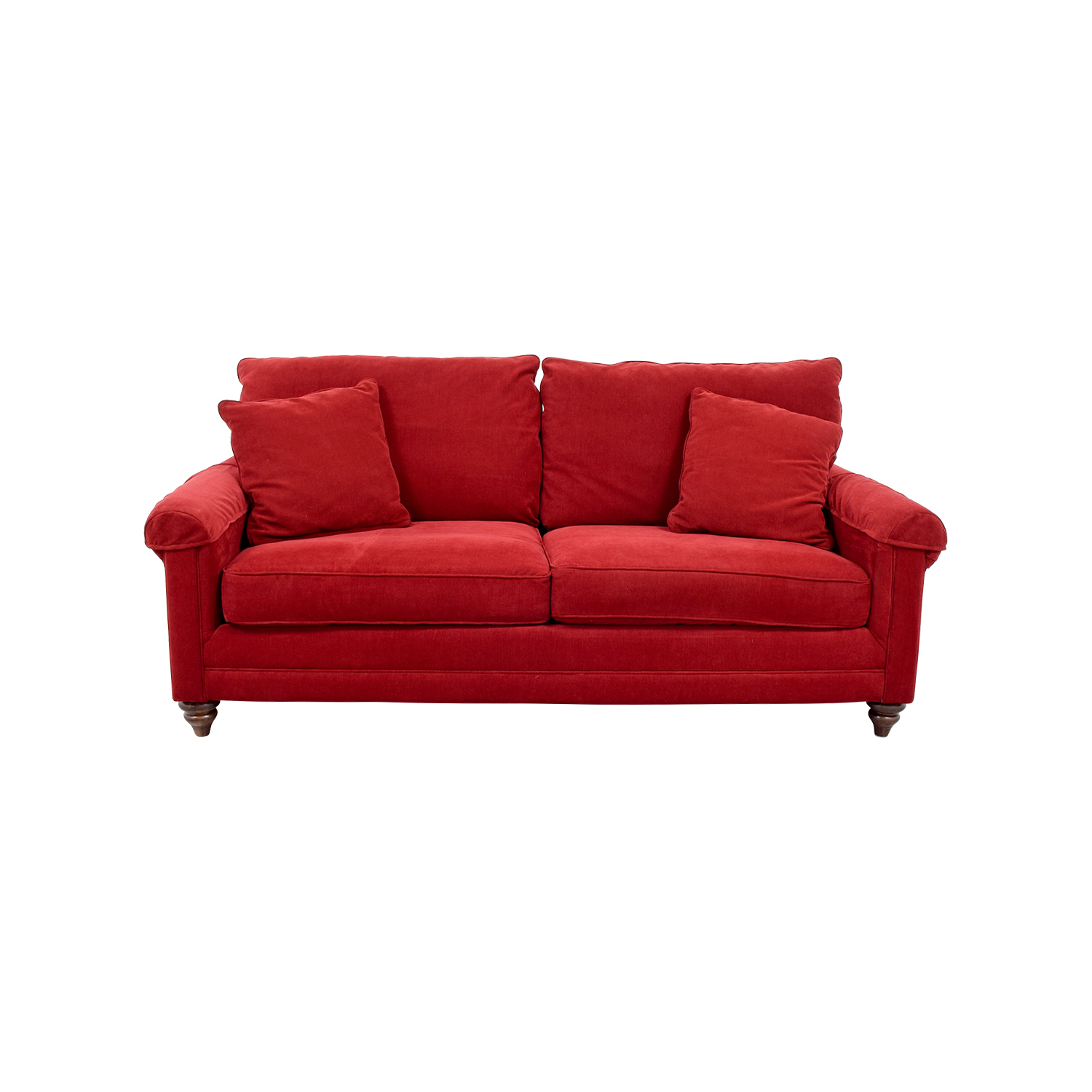 88% OFF - Bassett Furniture Bassett Red Curved Arm Two-Cushion Couch / Sofas