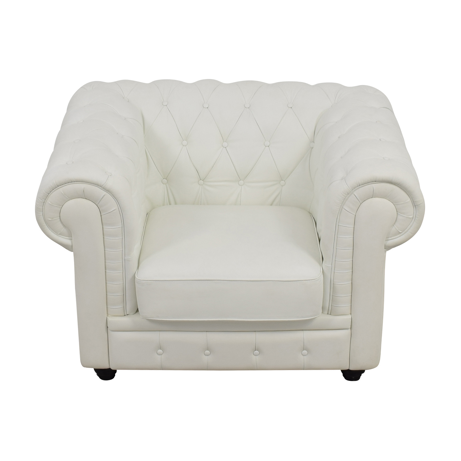Chesterfield Tufted White Leather Accent Chair on sale