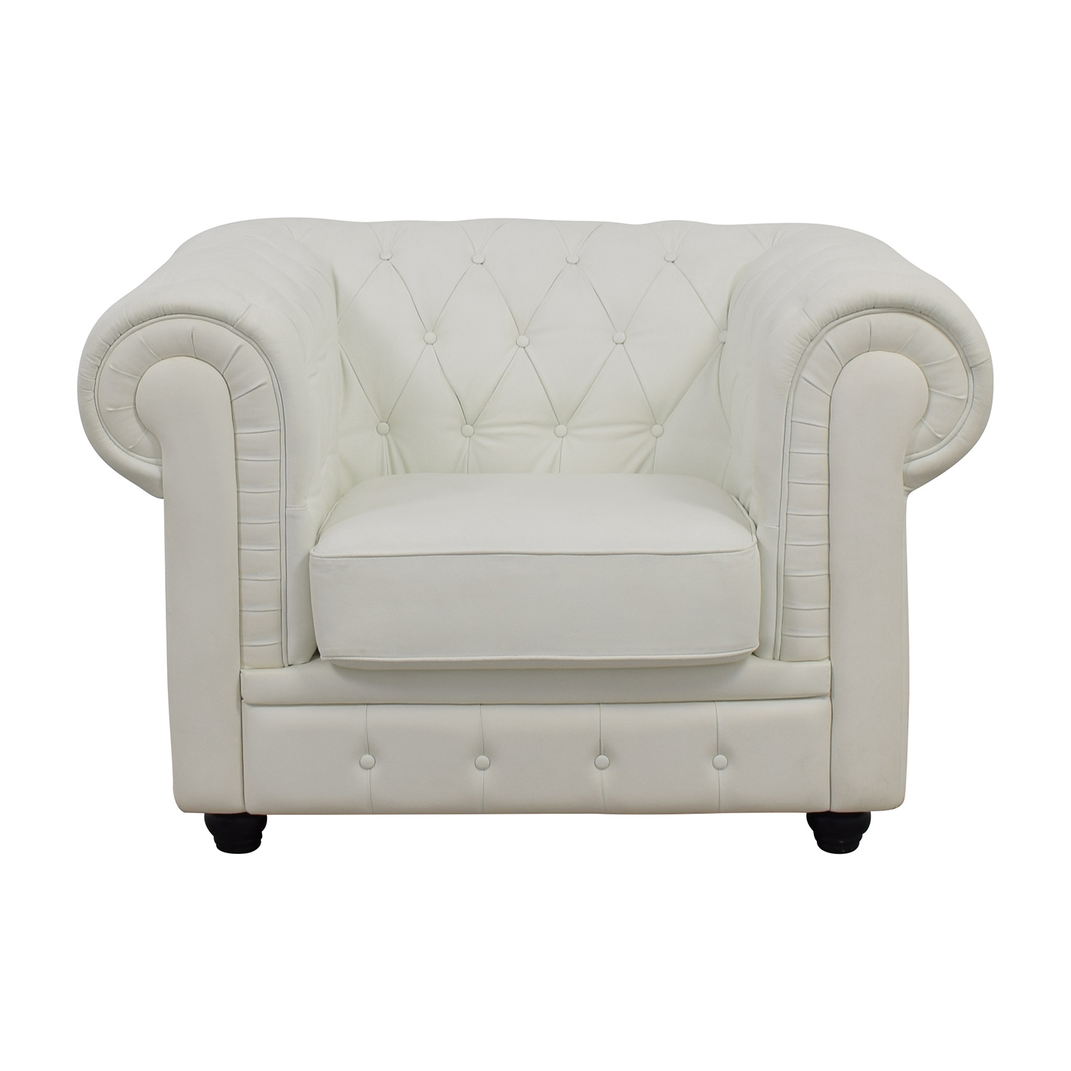 Chesterfield Tufted White Leather Accent Chair used