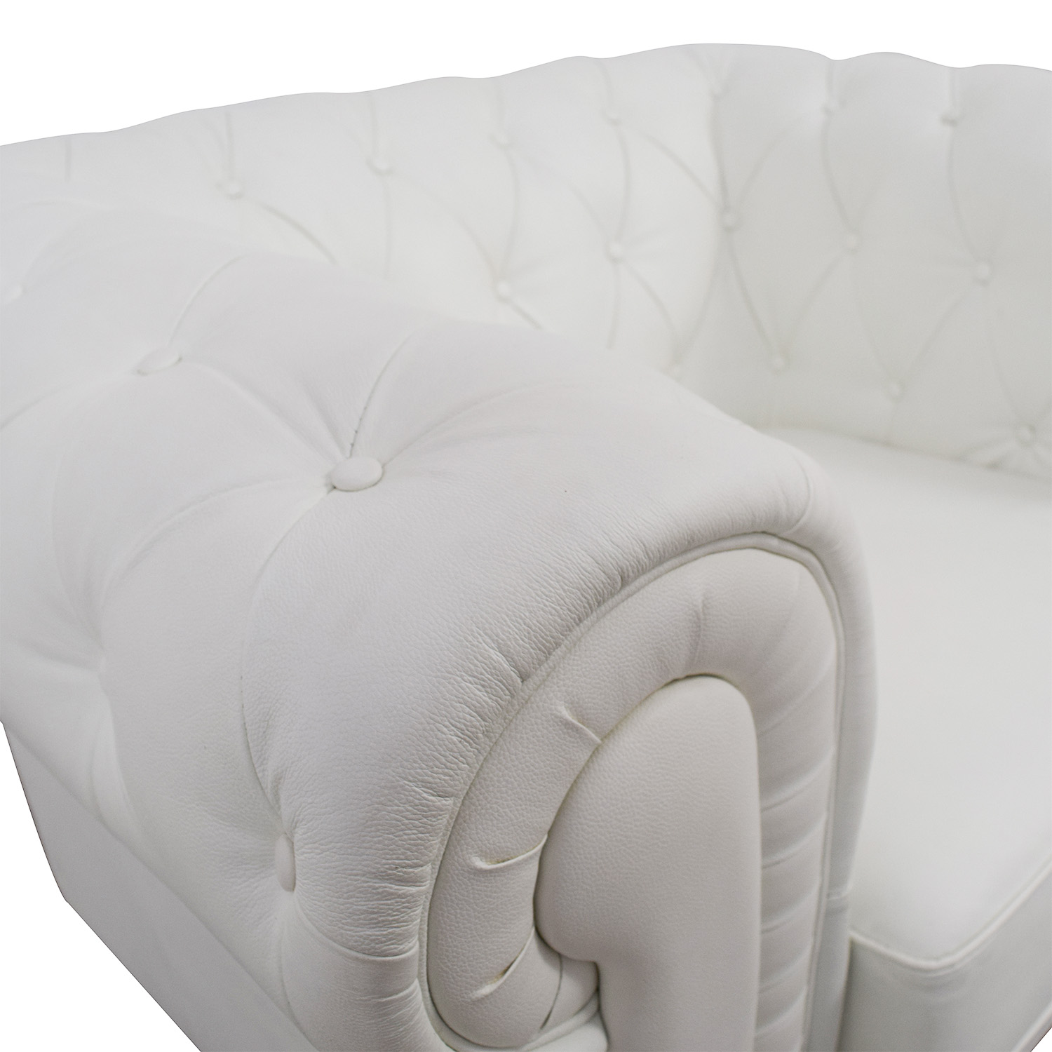 buy Chesterfield Tufted White Leather Accent Chair Accent Chairs