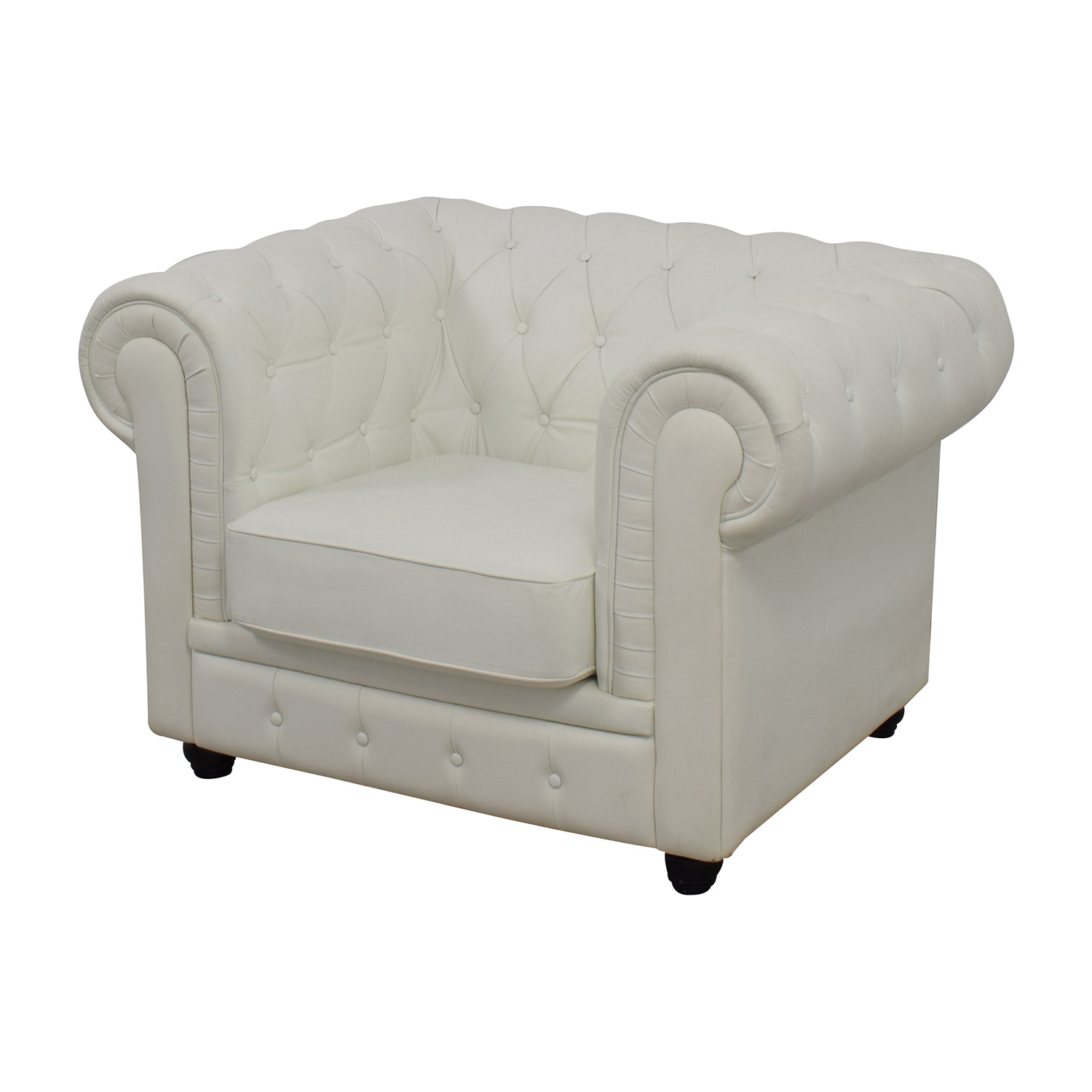 46% OFF Chesterfield Tufted White Leather Accent Chair Chairs