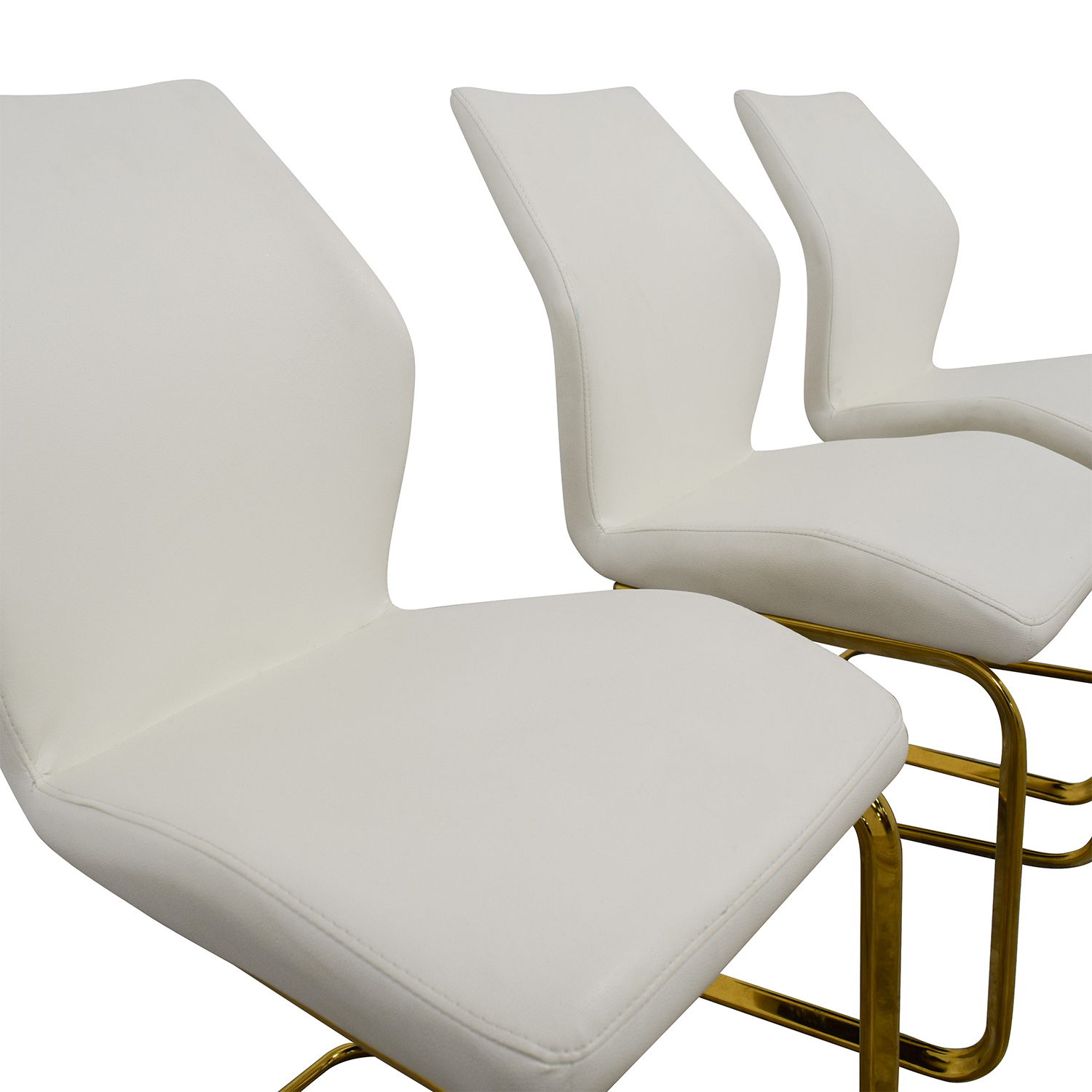 89 Off Nicole White Leather Dining Chairs Chairs