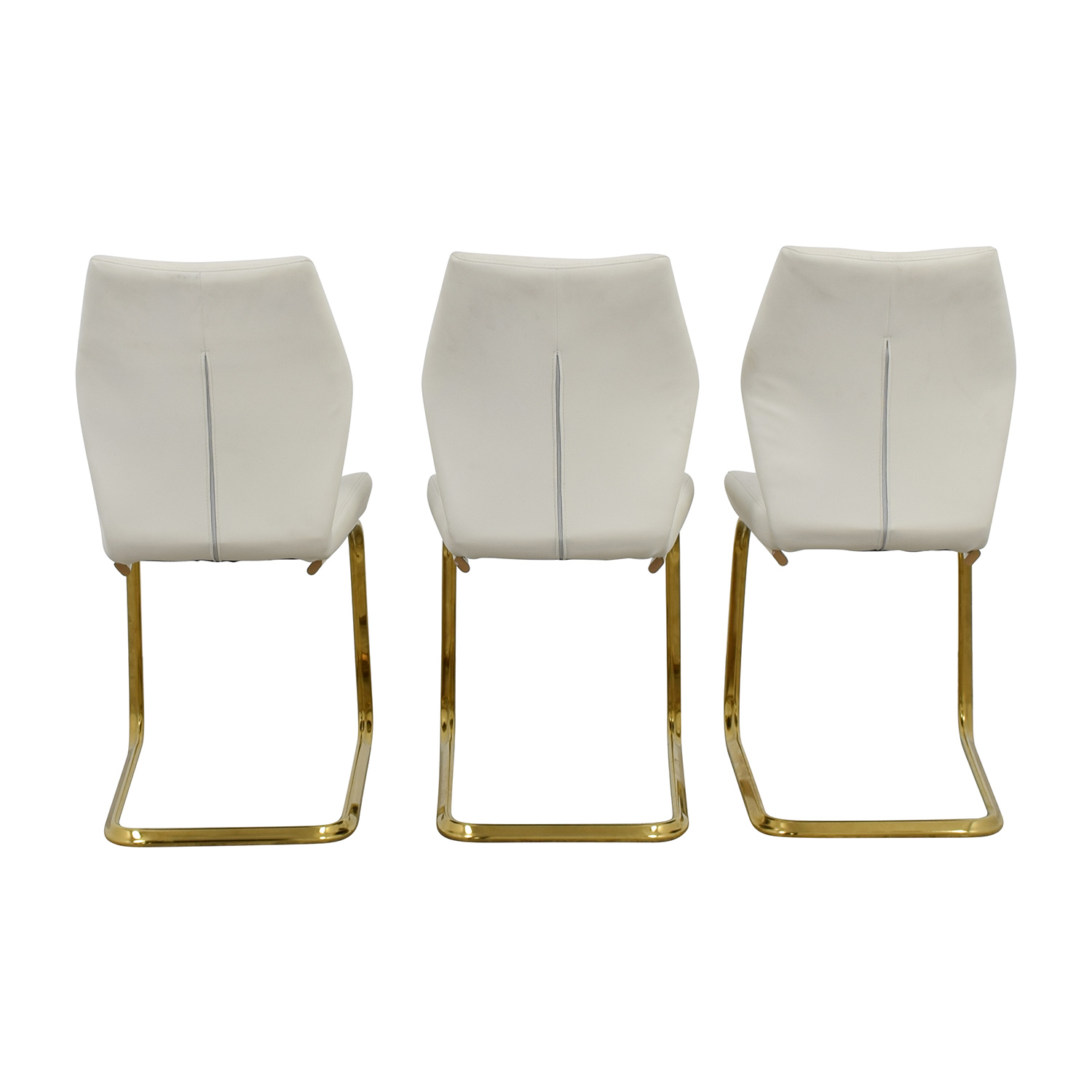 Nicole White Leather Dining Chairs whtie