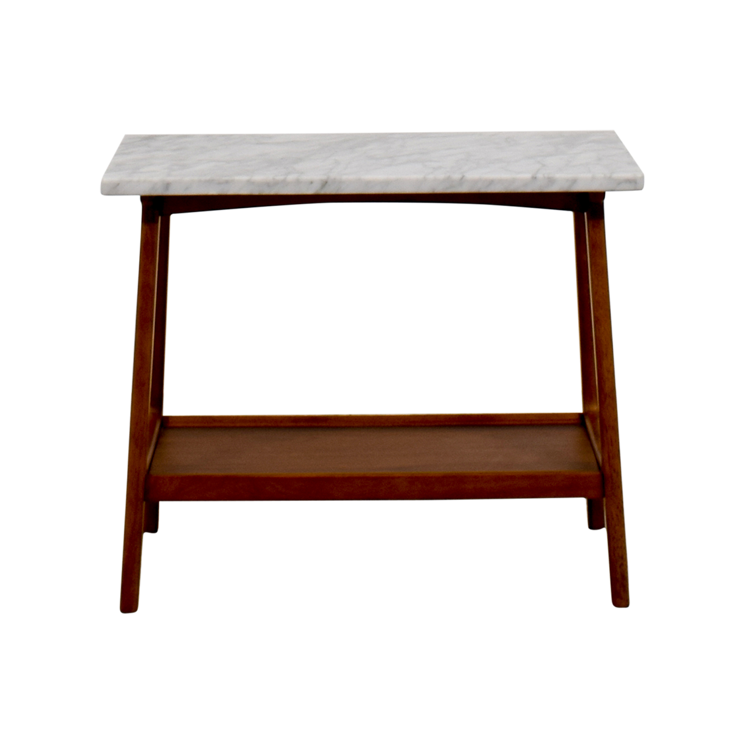OFF West Elm West Elm Reeve Marble Walnut Side Table Tables - Walnut and marble coffee table