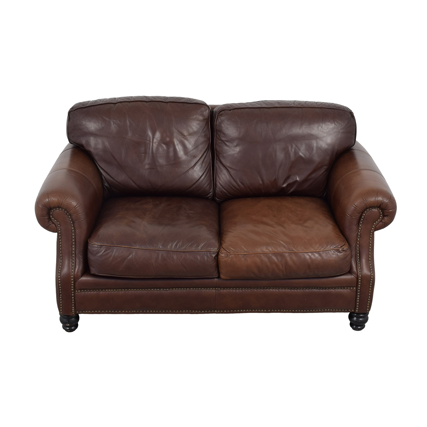 Bloomingdale's Bloomingdale's Brown Leather Loveseat for sale