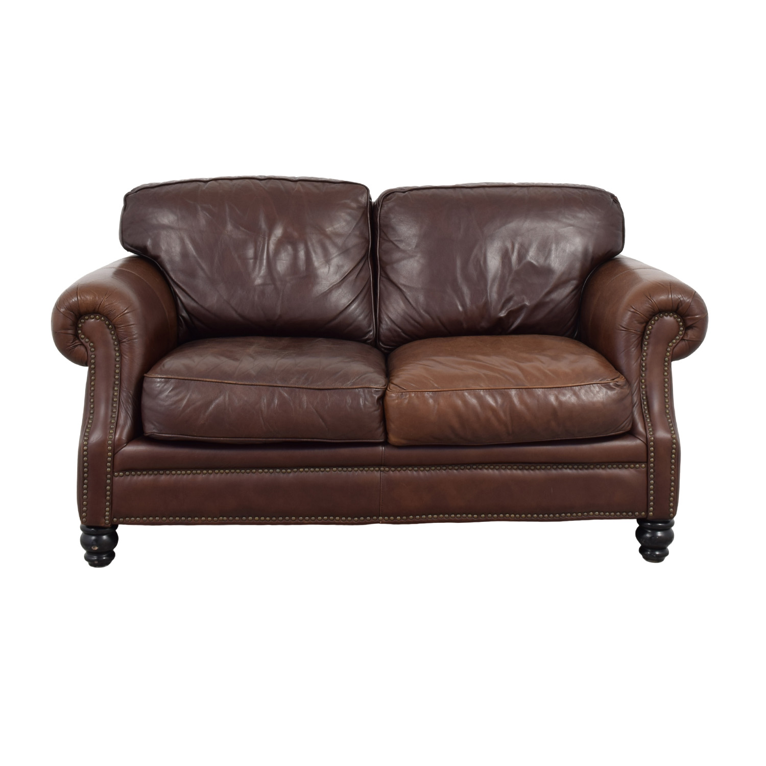 shop Bloomingdales Brown Leather Loveseat Bloomingdales Loveseats
