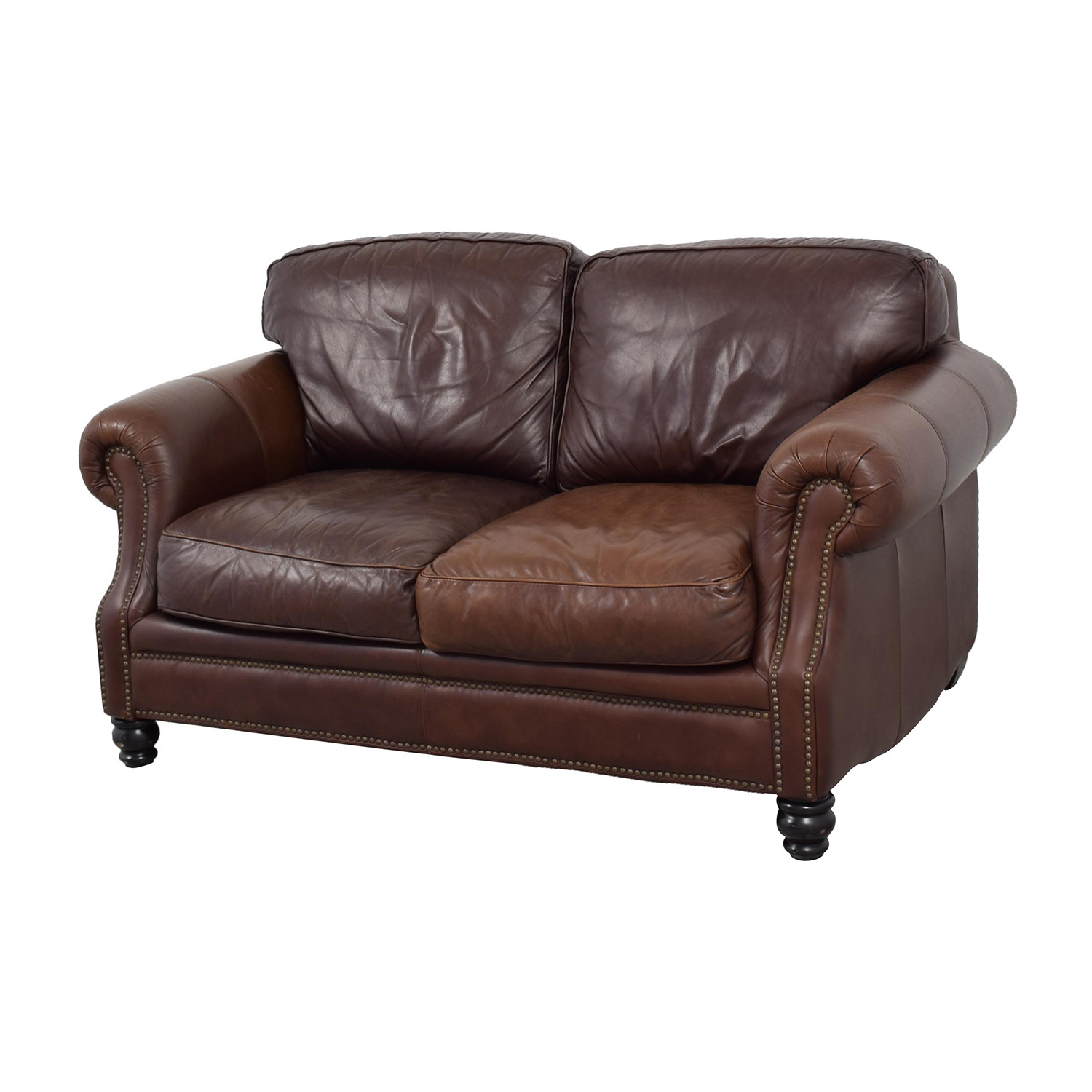 67 Off Bloomingdale 39 S Bloomingdale 39 S Brown Leather Loveseat Sofas