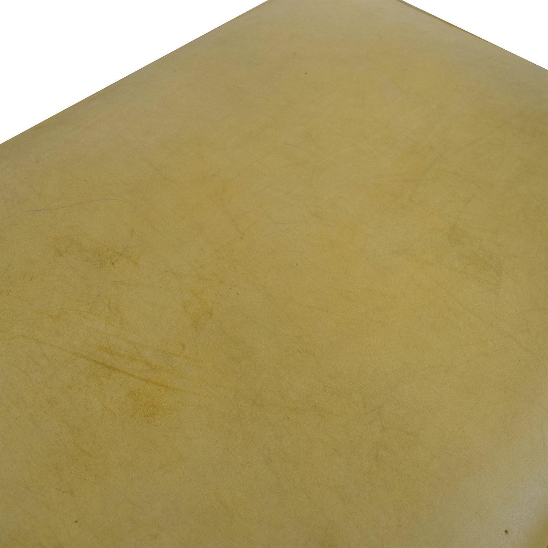 80 Off Custom Mustard Yellow Leather Nailhead Ottoman