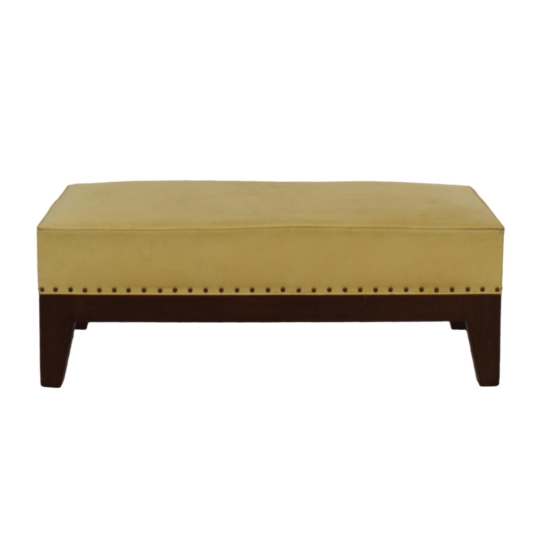 Custom Mustard Yellow Leather Nailhead Ottoman Price