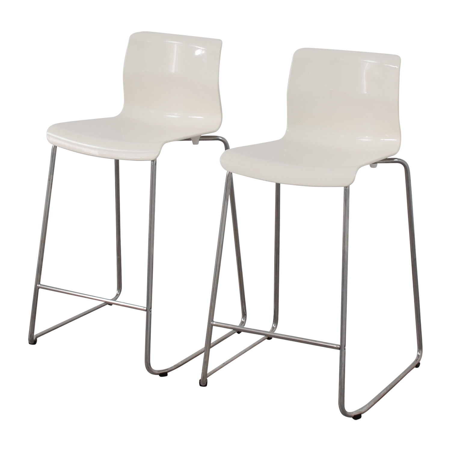 85 off ikea ikea white glen bar stools chairs. Black Bedroom Furniture Sets. Home Design Ideas
