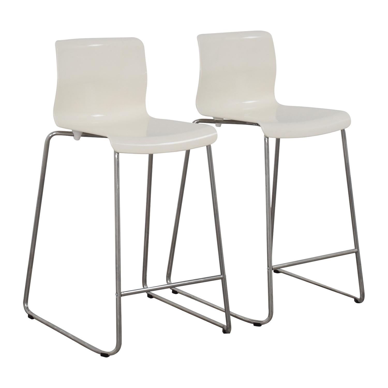 Used Bar StoolsSet Of 2 Bridgewell Gray Fabric Bar Stools  : used ikea white glen bar stools from algarveglobal.com size 1500 x 1499 jpeg 271kB