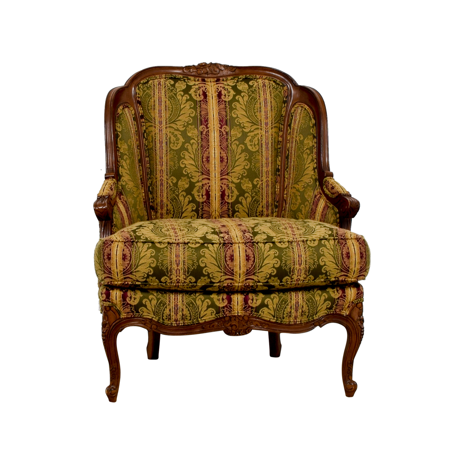 65 Off Drexel Heritage Bergere Green Gold And Burgundy Chair Chairs