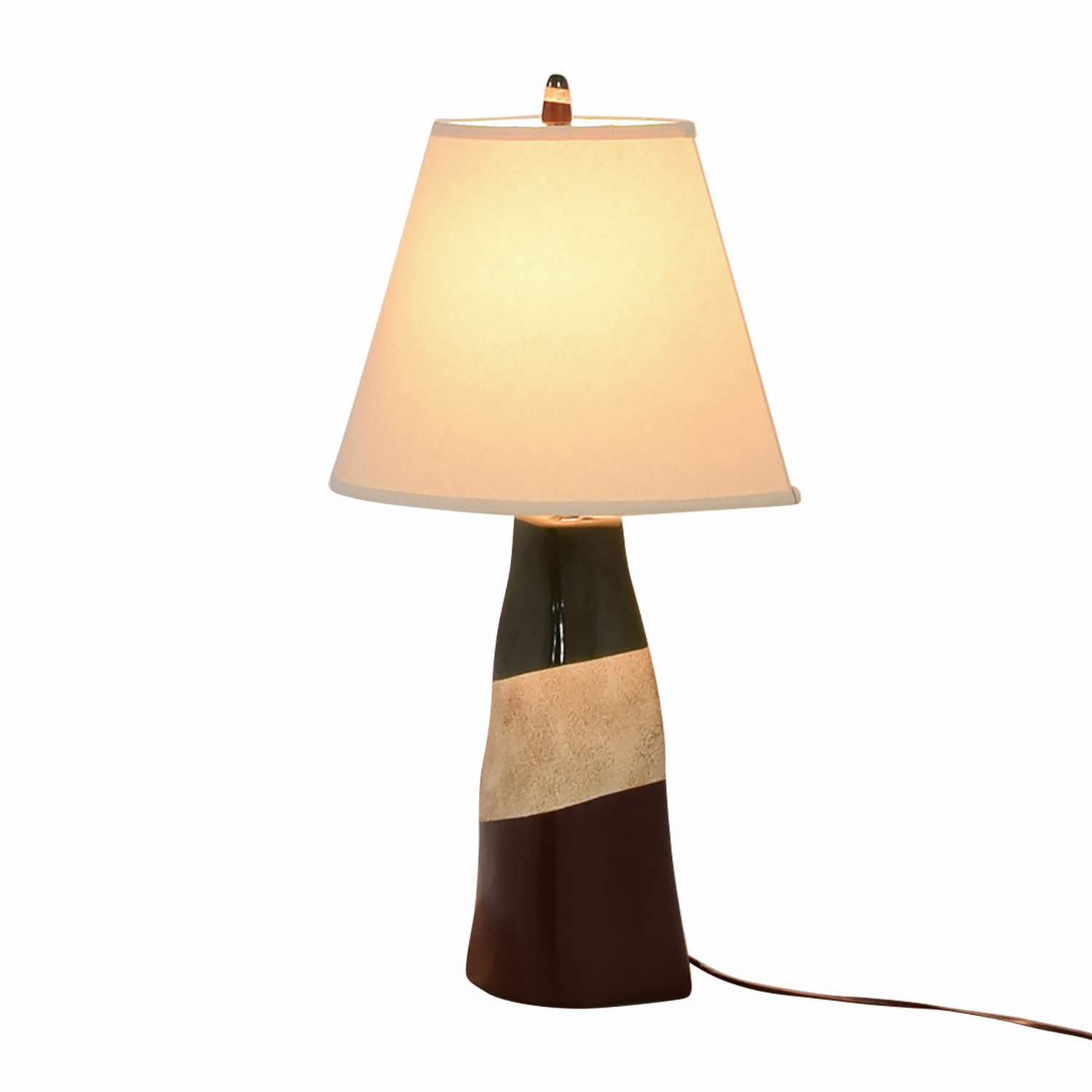 Brown Green and Beige Ceramic Table Lamp dimensions