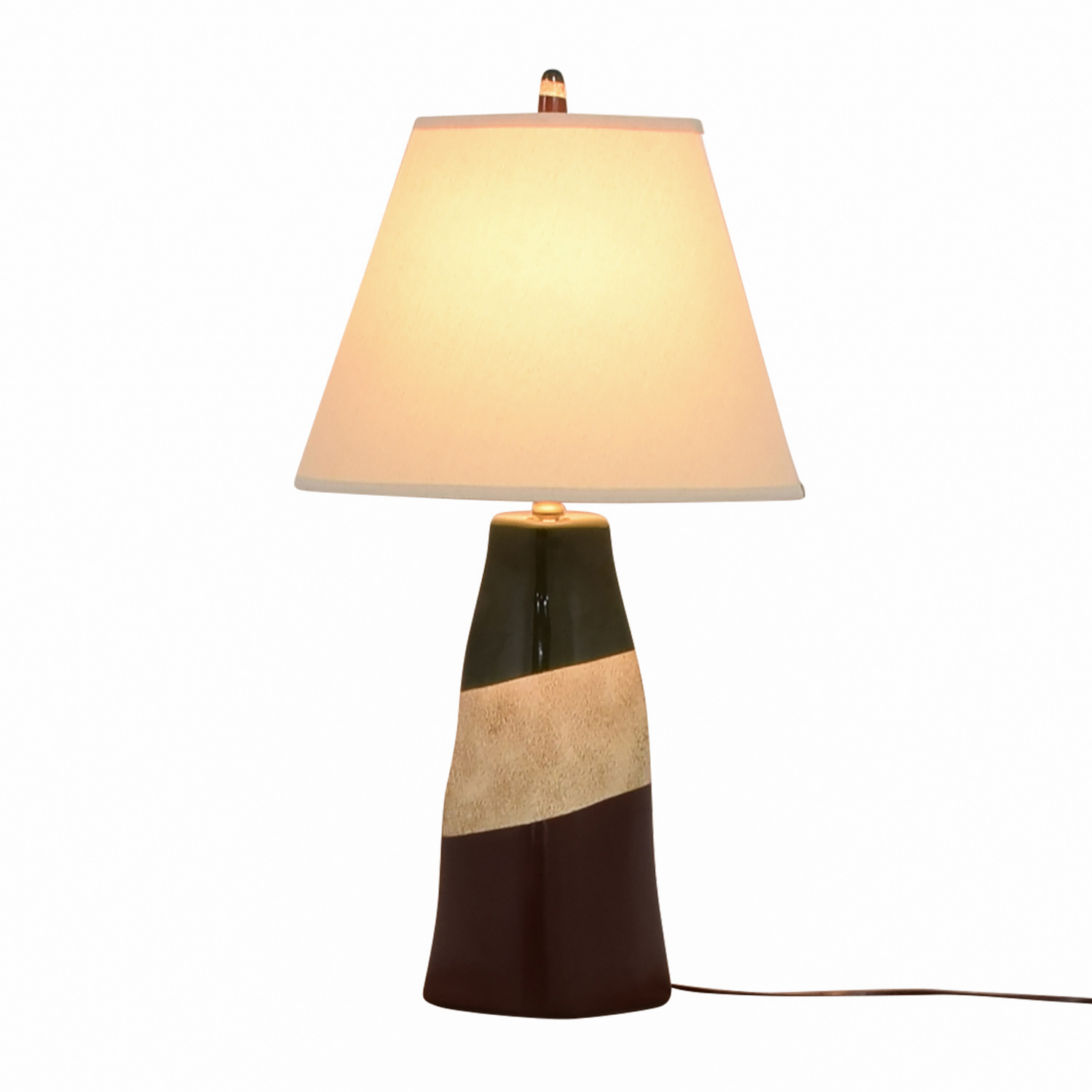 Brown Green and Beige Ceramic Table Lamp sale