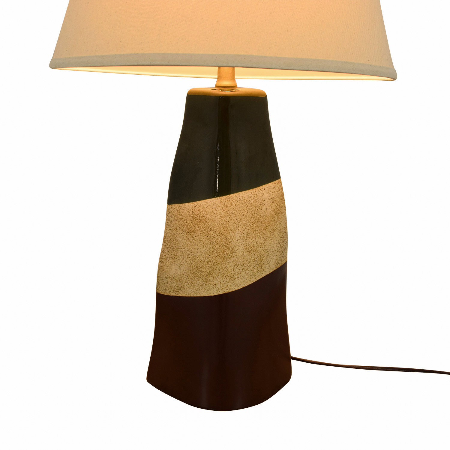 Brown Green and Beige Ceramic Table Lamp nyc