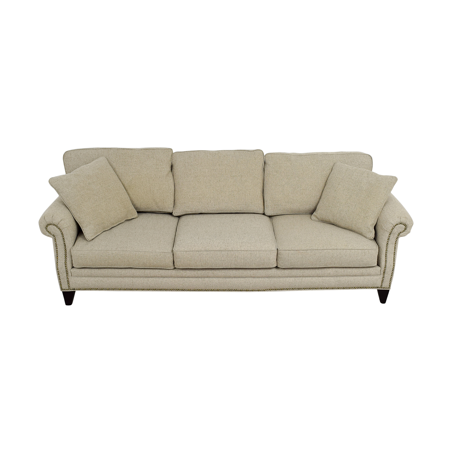 Macy's Macy's Grey Fabric Nailhead Sofa Sofas