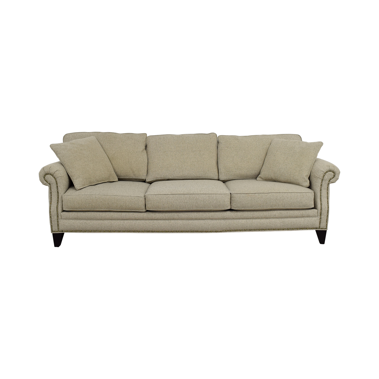 Macys Macys Tan Fabric Nailhead Sofa second hand