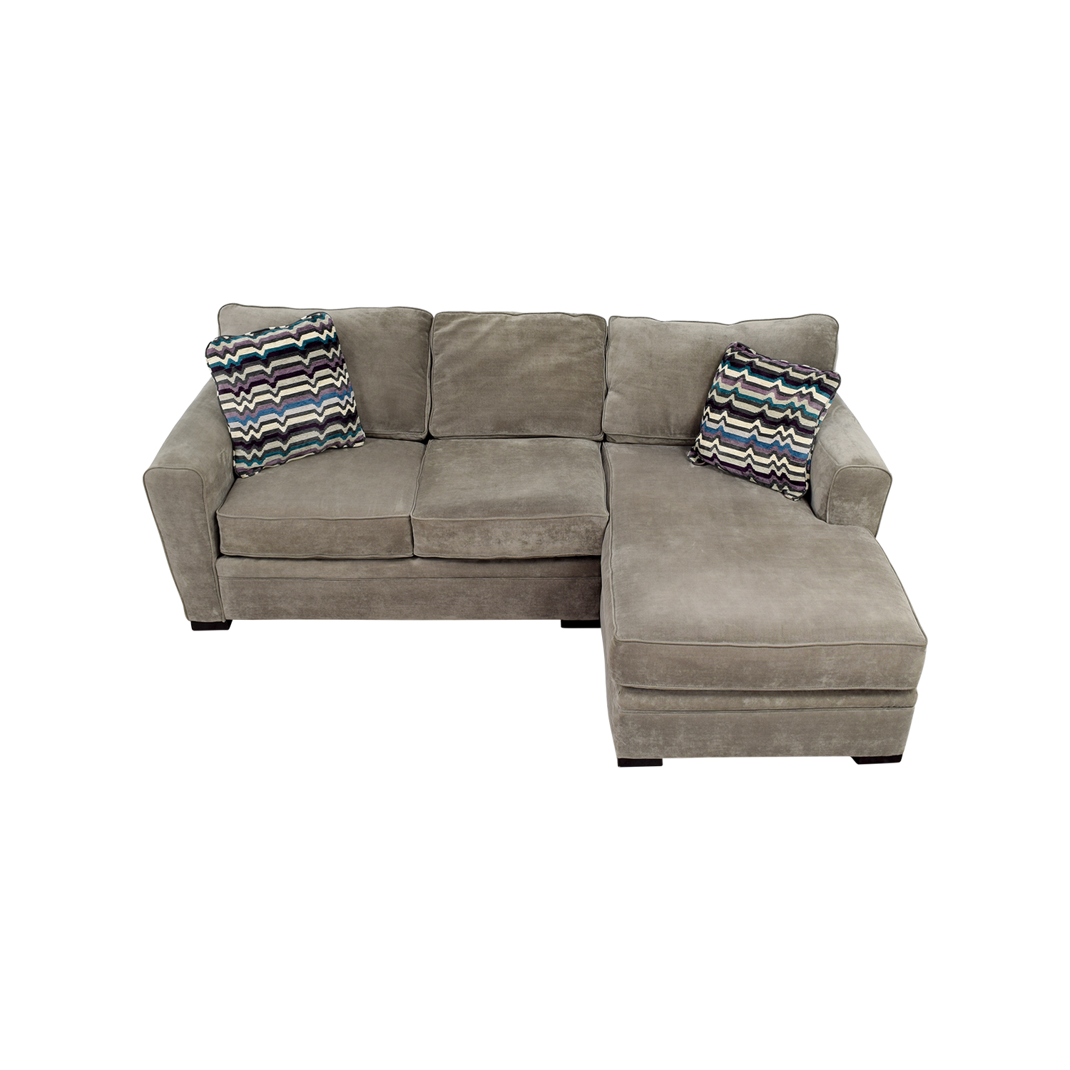 shop Raymour & Flanigan Artemis II Microfiber Grey Sectional Raymour & Flanigan Sectionals