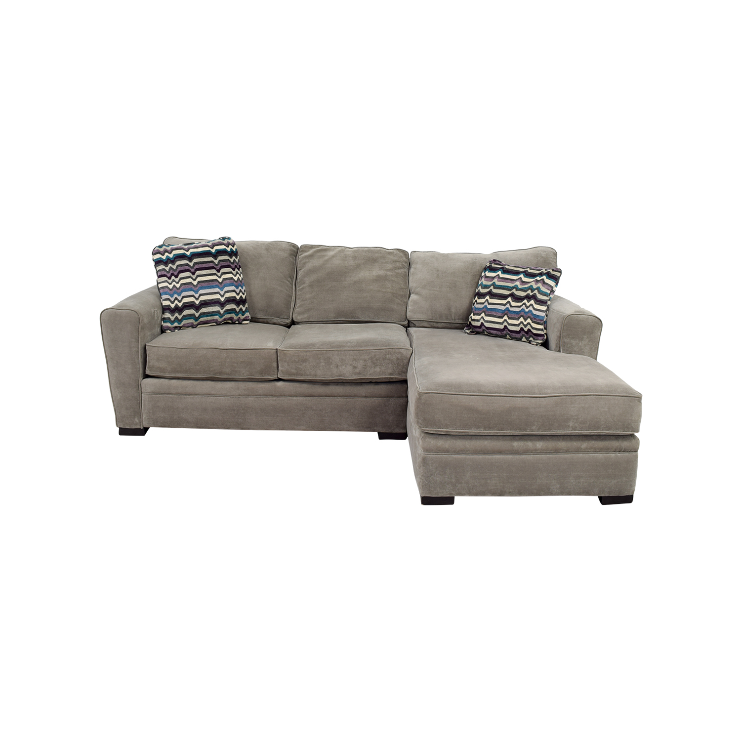 Raymour & Flanigan Raymour & Flanigan Artemis II  Microfiber Grey Sectional for sale