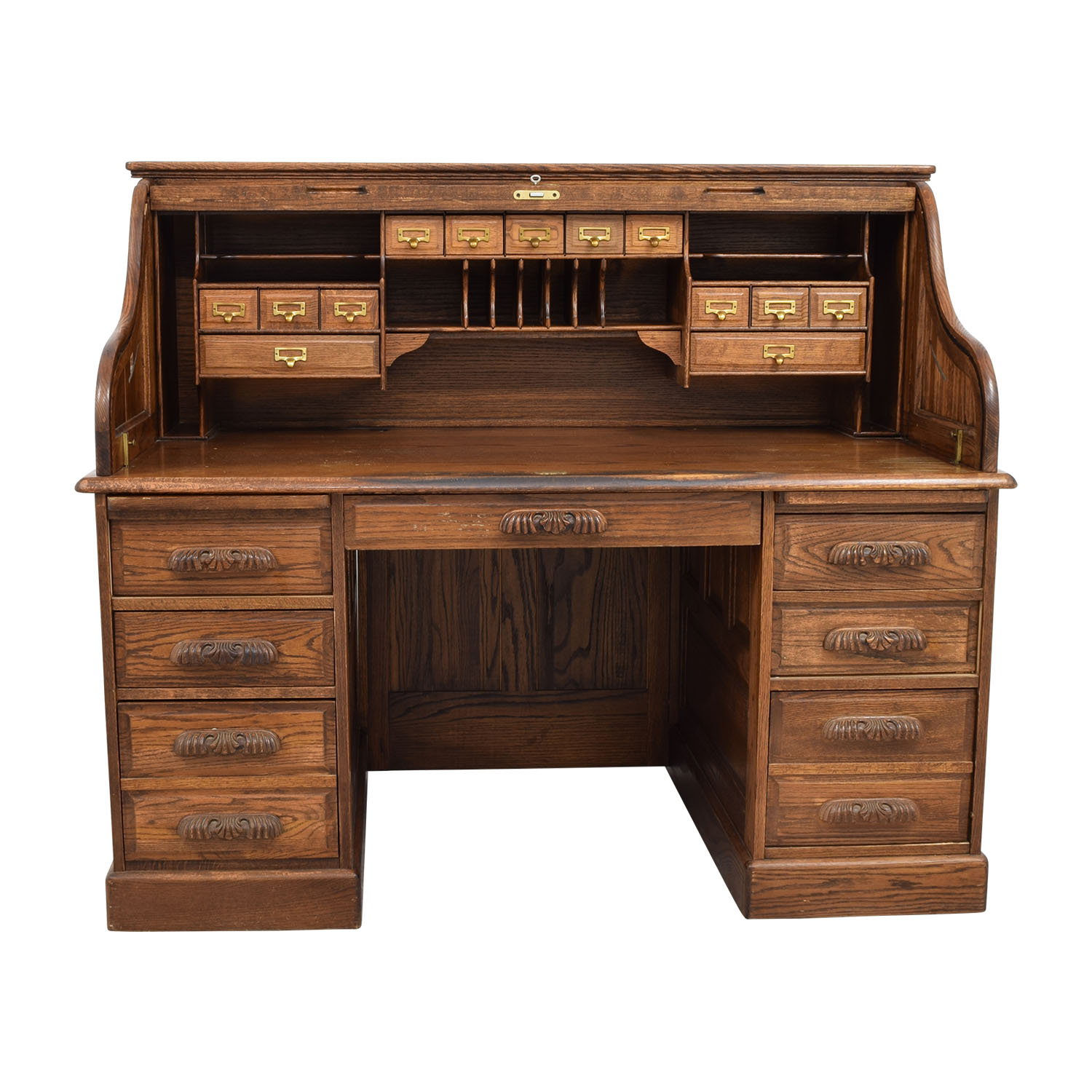 Antique Oak Roll-Top Desk nj ... - 84% OFF - Antique Oak Roll-Top Desk / Tables