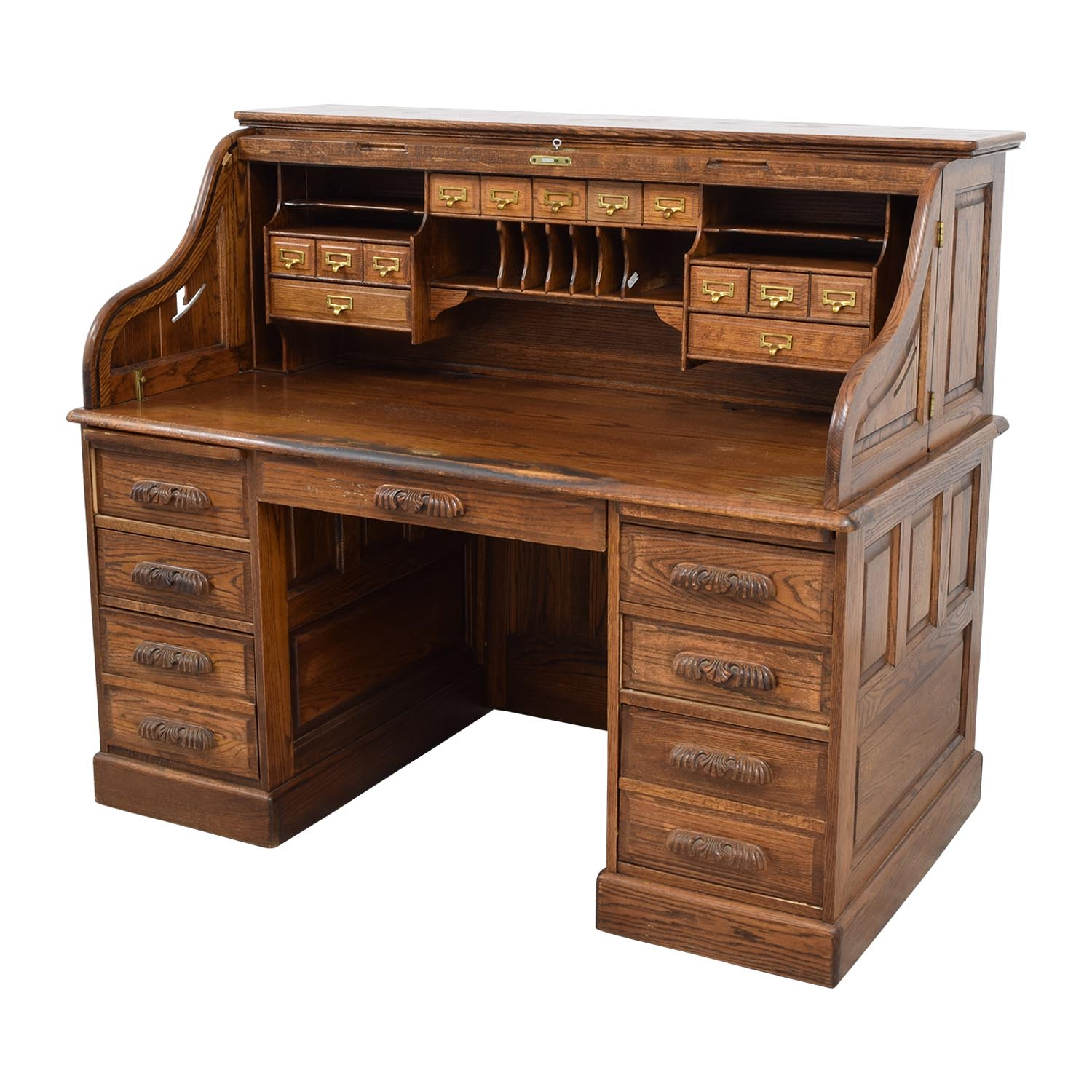 ... Antique Oak Roll-Top Desk sale ... - 84% OFF - Antique Oak Roll-Top Desk / Tables