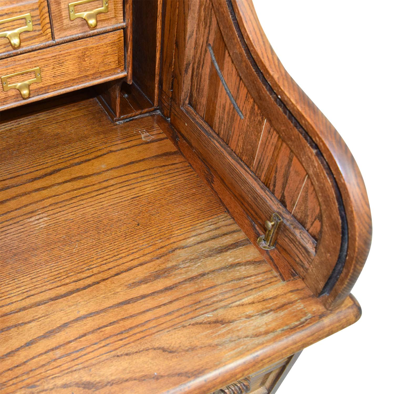 84 Off Antique Oak Roll Top Desk Tables