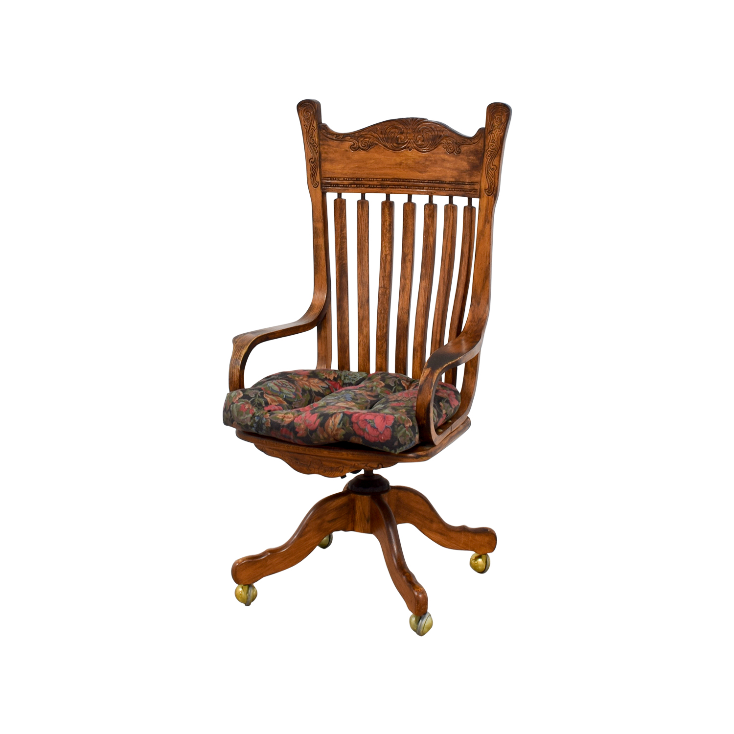 47 Off Wooden Desk Chair On Casters