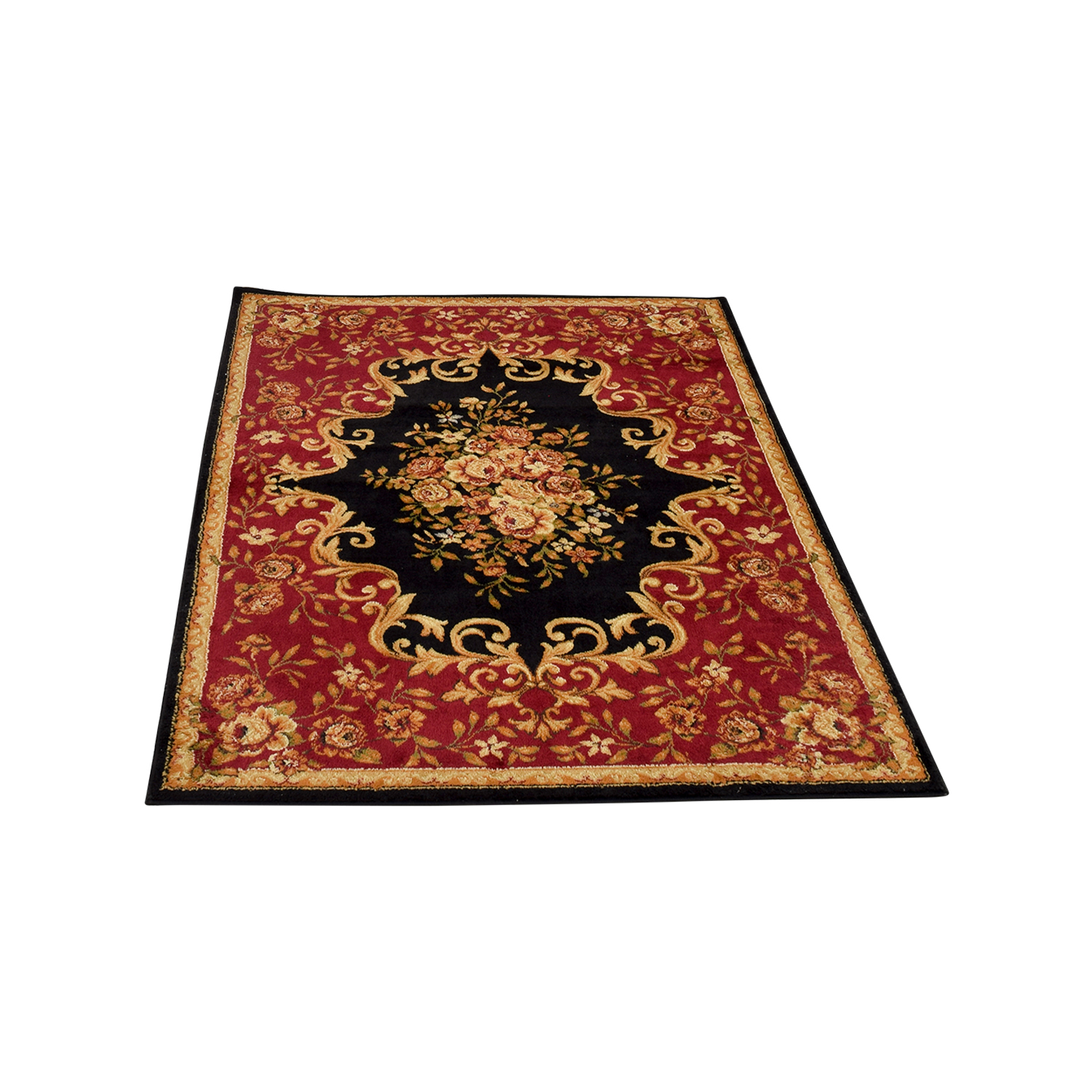 Royalty Royalty Black and Burgundy Floral Rug used