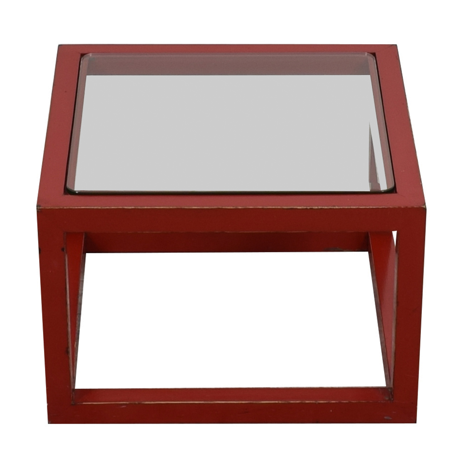 buy Crate & Barrel Modern Glass Top Red Coffee Table Crate & Barrel Tables